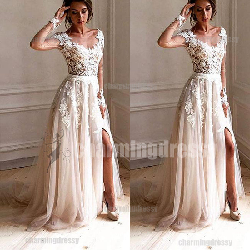 a4d7e098f7e Long Sleeves Lace and Tulle Unique Fashion Charming Prom Dresses ...