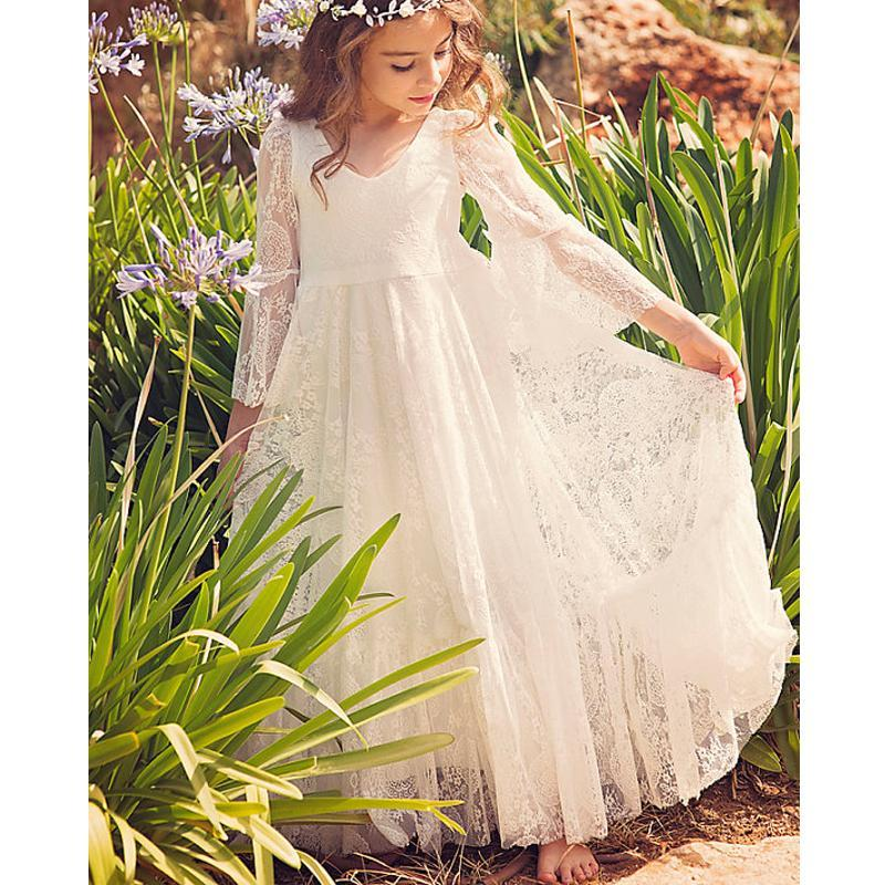 Boho Long Sleeve A-line Lace Flower Girl Dresses, Lovely Little Girl Dresses, FG063