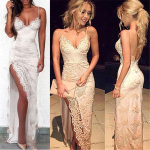 Charming Lace Sexy Spaghetti Straps Mermaid Side Slit Prom Dress, Evening Dress, PD0325