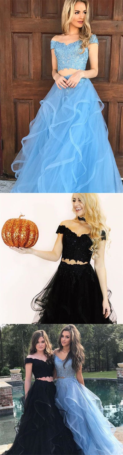 Custom Two Pieces Blue and Black Prom Dresses, Off Shoulder Modest Prom Dress, PD0337