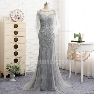 Long Silver Grey Scoop Beading Sparkly Elegant High Quality Prom Dresses 1120292883b1