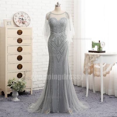 Long Silver Grey Scoop Beading Sparkly Elegant High Quality Prom ...