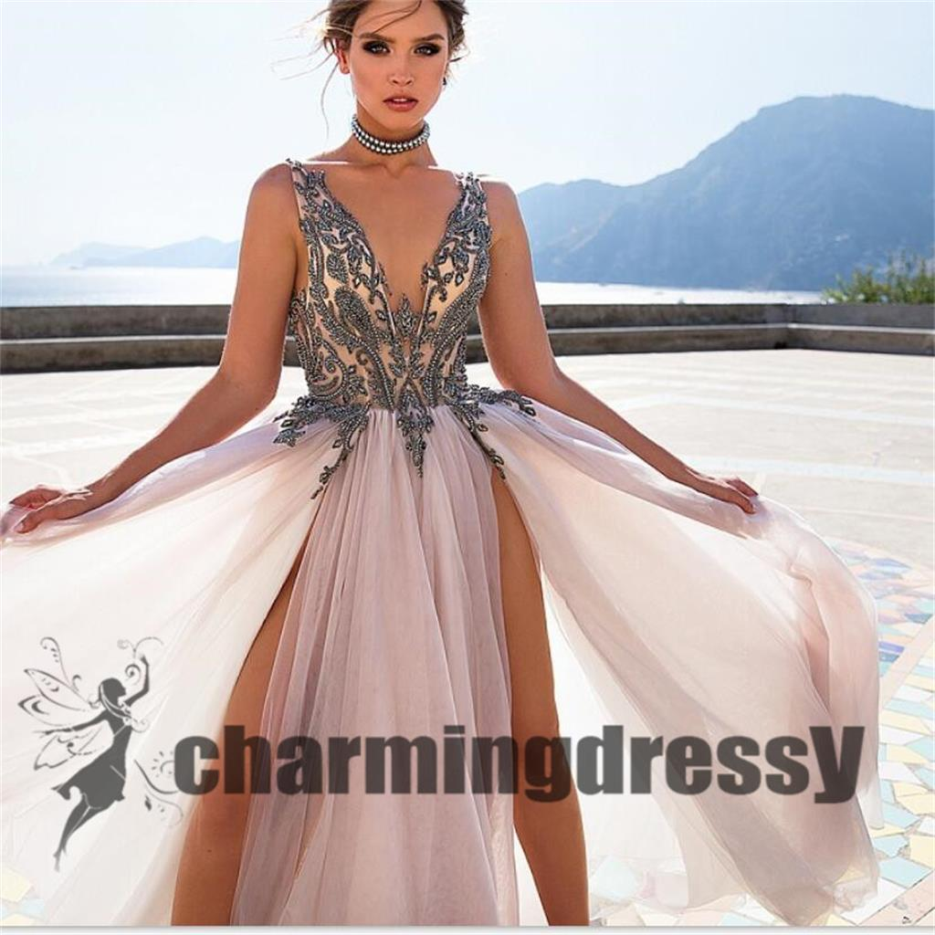2020 Deep V-Neck Tulle Split Fashion Best Sale Long Prom Dresses, Party Dress Online, PD0368