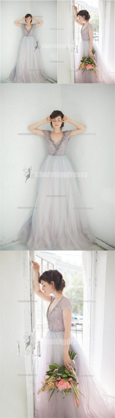Cap Sleeves Long Tulle Fairy Beautiful Elegant Prom Dresses, Evening dresses, 2018 prom dress, PD0442