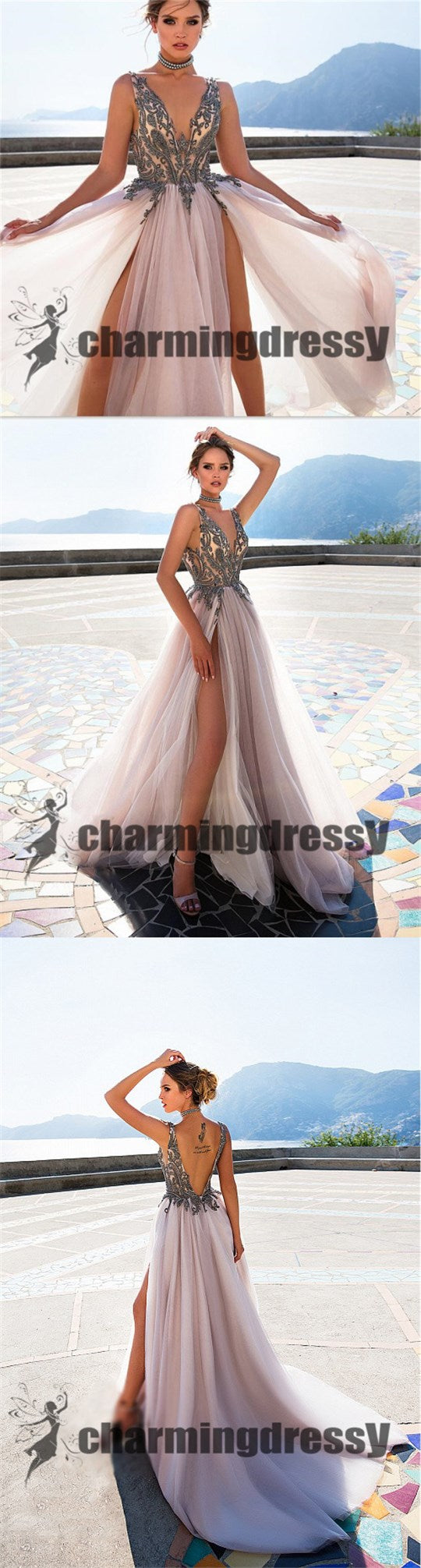Deep V-Neck Tulle Split Fashion Best Sale Long Prom Dresses, Party Dress Online, PD0368
