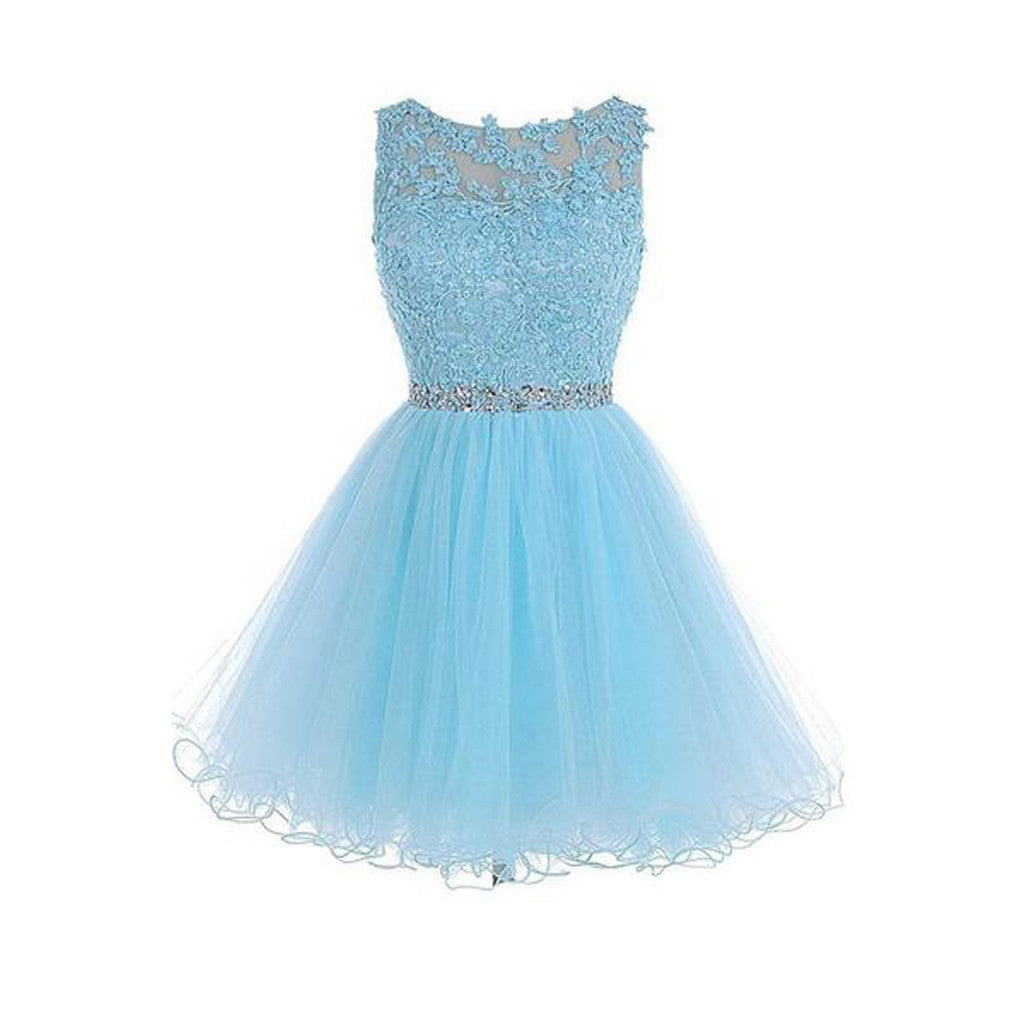 Sexy Open back Light Blue lace Tulle homecoming prom dresses, CM0020 ...