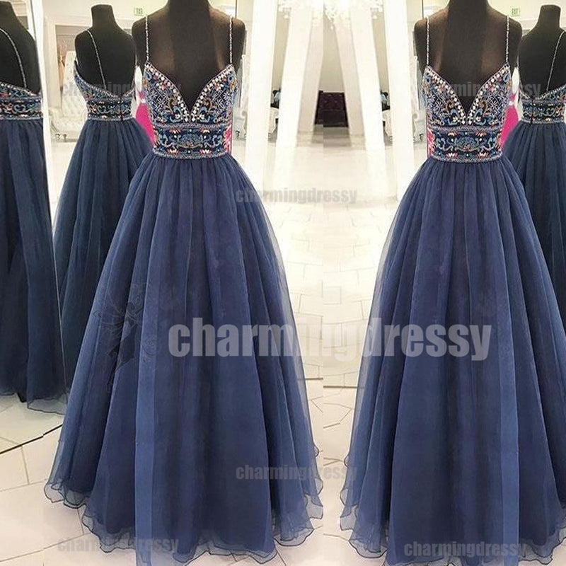 A-line Spaghetti Straps Sparkly Party Formal Affordable Elegant Popular Prom Dresses, PD0464