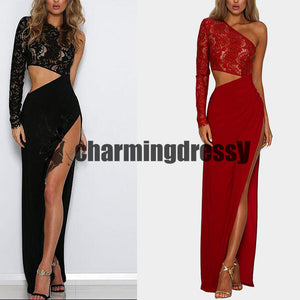 New Arrival Chiffon Simple Black and Red One Off Shoulder Lace Side Split Prom Dresses, ,PD0402