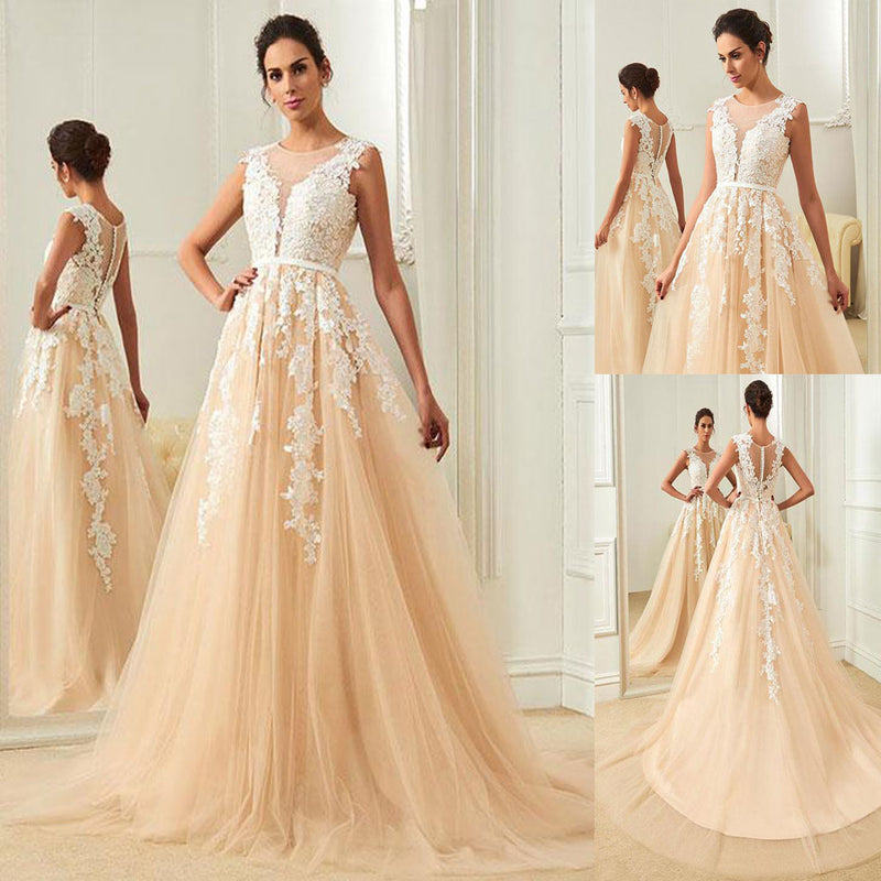 Long Sleeveless Lace And Tulle Most Popular Prom Dresses Evening