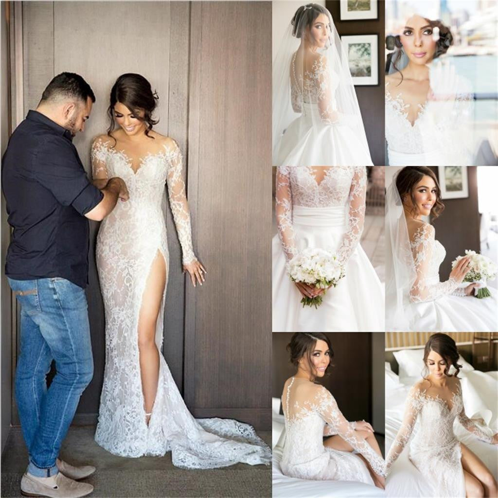 2019 New Full Lace Split Wedding Dresses  with Detachable Satin Skirt , PD0223