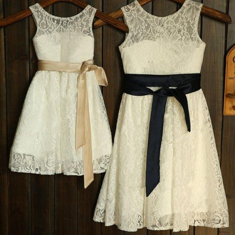 Round Neck Lace Long A-line Flower Girl Dresses With Belt, FG008