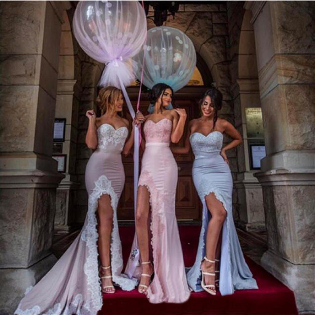 Sweetheart Mermaid Slit Bridesmaid Dress Fashion  Popular Elegant Formal Prom Dresses,PD205