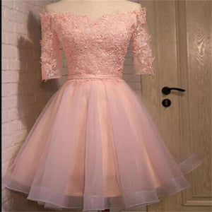 Long sleeve lace pink short homecoming prom dresses, CM0006