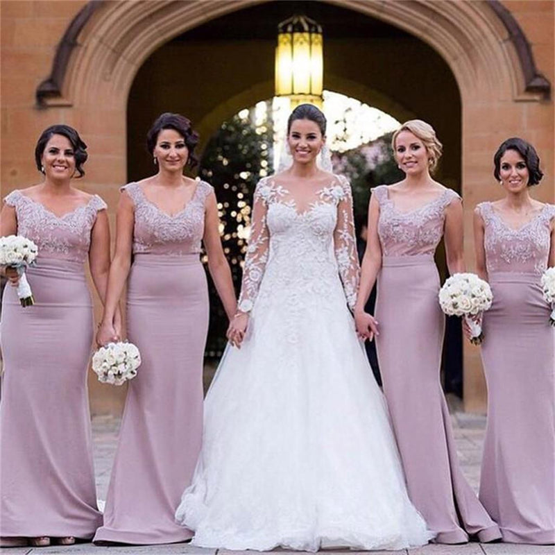 Lilac Long Mermaid V-Neck Cap Sleeves Simple New Design Free Custom Lace Appliques Bridesmaid Dresses  ,PD0259