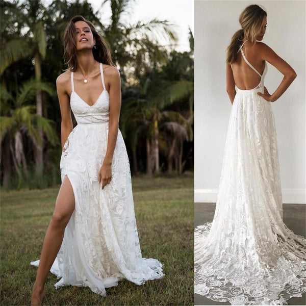 Lace Wedding Gown With Straps: 2019 Charming Lace Long A-line Fashion Spaghetti Straps