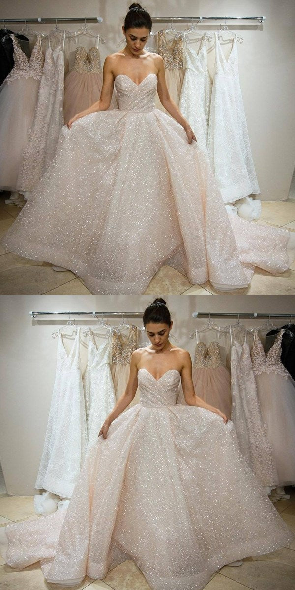 2019 A-Line Sweetheart Sleeveless Wedding Dress ,Prom Dress, Simple Cheap Custom Prom Dresses PD0341