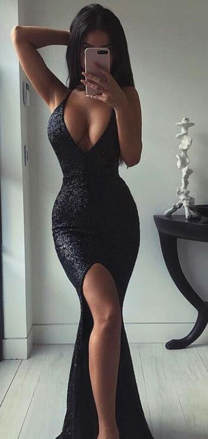 2019 Evening Dresses, Cocktail V-Neck Sexy Mermaid Black Sequins Cheap Long Prom Dresses , PD0893 - SposaBridal