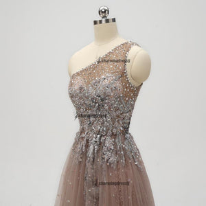 One Shoulder Sparkly Side Split Elegant Modest Free Custom Prom Dresses, Fashion Prom dress, PD0301