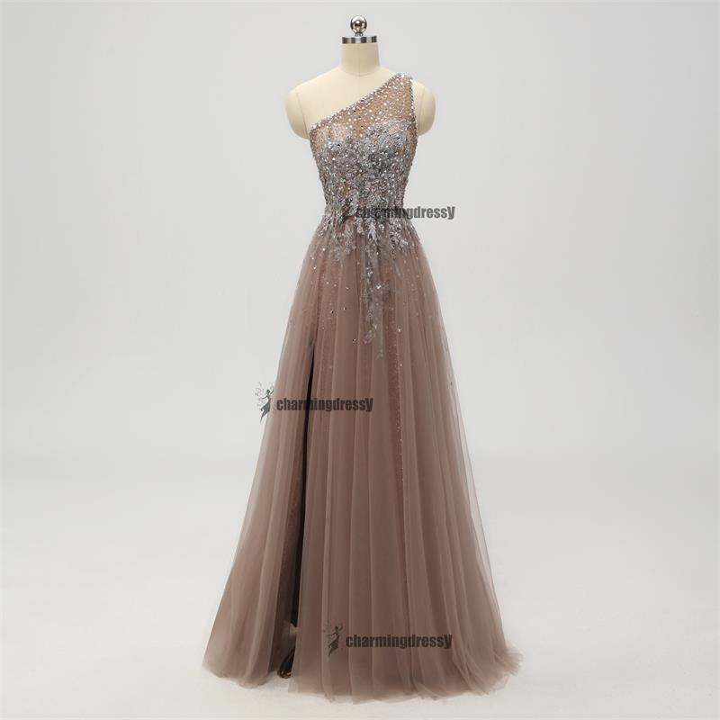 2019 One Shoulder Sparkly Side Split Elegant Modest Free Custom Prom Dresses, Fashion Prom dress, PD0301