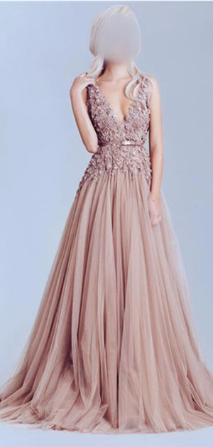 2020 Dusty Pink Tulle Off Shoulder Lace Long Best Sale Elegant Party Prom Dress,PD0066