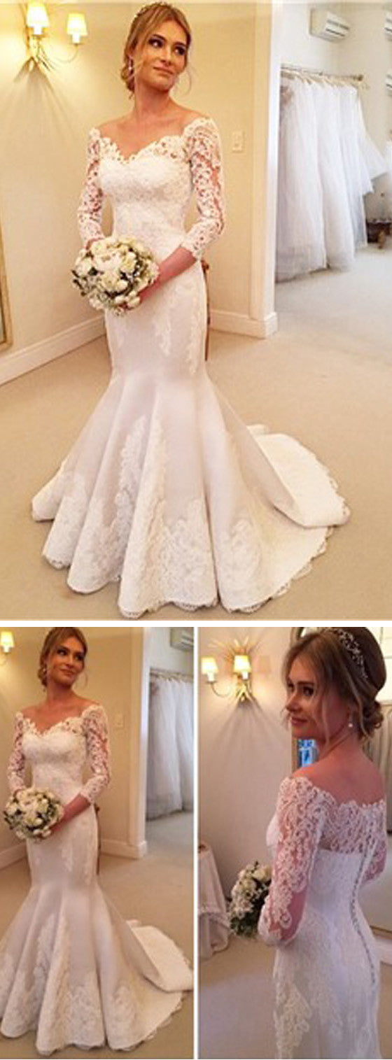 35f29f6dab9cf Charming Off Shoulder Long Sleeve Mermaid White Satin Lace Wedding Dresses