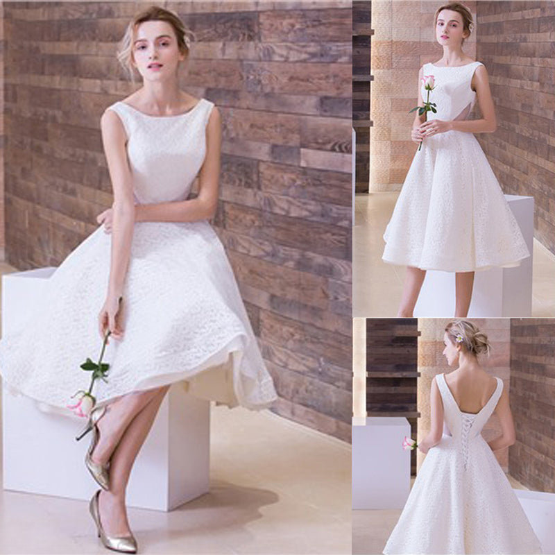 Scoop Neck Short Sleeveless Lace Up White Lace Wedding Party Dresses, WD0205
