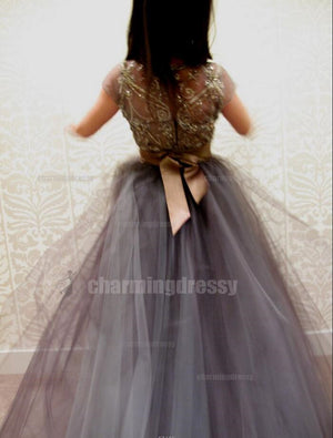 Cap Sleeves Tulle Sparkly High Quality Affordable Beaded Sparkly Charming Prom Dresses, PD0451