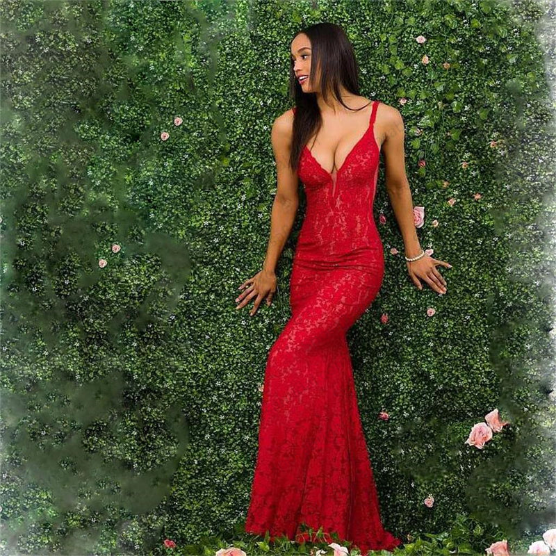 Charming Red Lace Spaghetti Straps Prom Dress, Gorgeous Mermaid Prom Dresses, PD0330