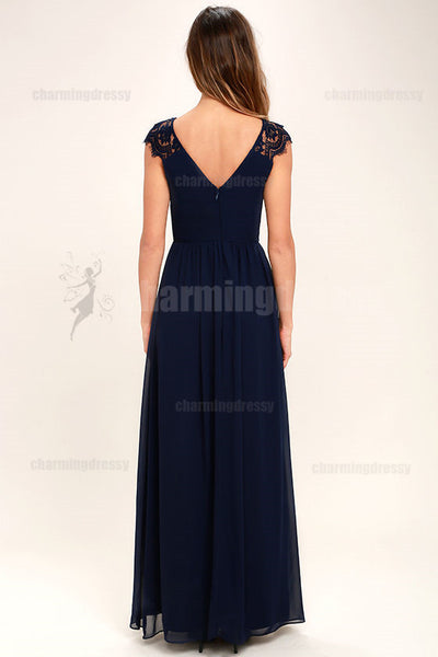 Cap Sleeves V Neck Long Floor-Length Navy Blue Bridesmaid Dresses, bridesmaid dress, Popular Wedding guest dress, PD0419