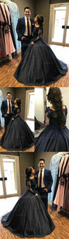 Long Sleeves Lace Elegant Formal Modest Popular Prom Dresses, Evening dress, Ball Gown, PD0459