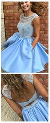 Open Back Blue Cap Sleeve Soop Short Cheap Homecoming Dresses Online, CM564