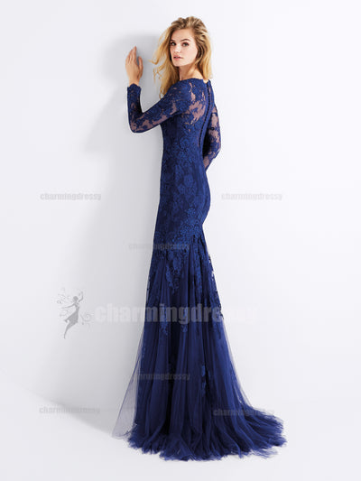 Long Sleeves Lace and Tulle V Neck Elegant High Quality Affordable Formal Evening Prom Dresses, PD0450