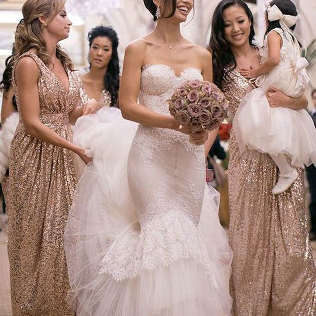 2019 Popular Cheap Sequin Long Off Shoulder V-Neck Floor-Length Bridesmaid Dresses, WG09