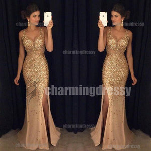 Sparkly  Side Split Sexy Straps Stunning Gorgeous Long Fashion Prom Dresses, PD0468