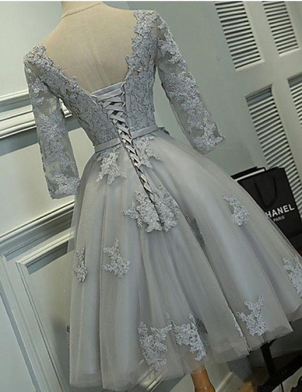 Long Sleeves Grey Lace Short Cheap Homecoming Dresses Online, CM561