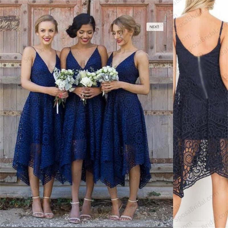 Short Royal Blue Pink Red Bridesmaid Dresses, Full Lace Newest Bridesmaid Dress,  PD0333