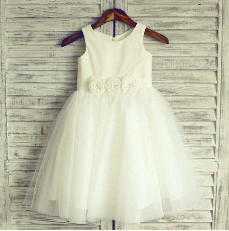 Pretty Sleeveless Round Neck Tulle Flower Girl Dresses, Popular Little Girl Dresses, FGS026