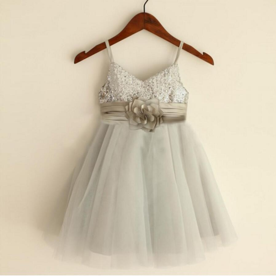 39244436ea Sparkly Spaghetti Strap V- Neck Light Gray Tulle Flower Girl Dresses With  Handmade Flower Sash