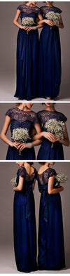 Impressive Discount Cap Sleeve Top Seen-Through Lace Elegant Royal Blue Long Bridesmaid Dresses, WG030