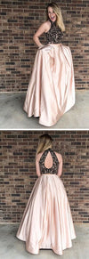 2019 Beading Two Pieces Sparkly Open Back Halt Prom Dresses, Popular Fashion Prom Dress for party, PD0372
