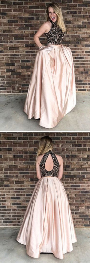 Beading Two Pieces Sparkly Open Back Halt Prom Dresses, Popular Fashion Prom Dress for party, PD0372