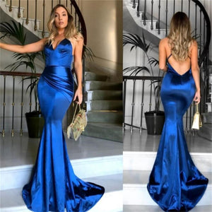 2019 Royal Blue Sexy Long Prom Dress, Simple Spaghetti Straps Popular Prom Dresses, Newest Evening Prom Dresses, PD0298