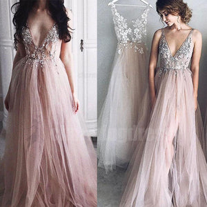 V neck Long Lace and Tulle Princess New Arrival Prom Dresses, 2018 Party Dresses, Evening Dress, PD0476