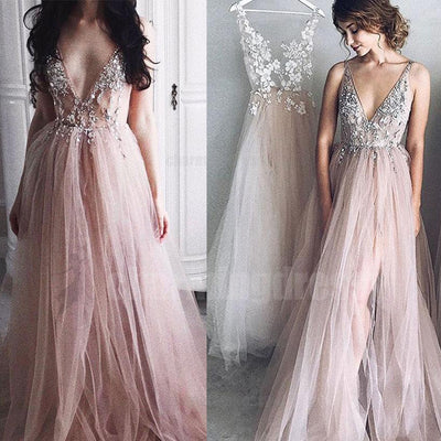 V Neck Long Lace And Tulle Princess New Arrival Prom Dresses 2018 Par Charmingdressy