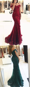 Red Lace Off Shoulder Popular Prom Dress, Mermaid Prom Dresses, Evening Dress, PD0326