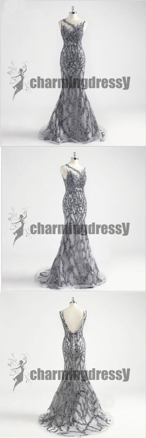 Grey Sparkly Mermaid Sleeveless Formal Beautiful V-Back Prom Dresses, Evening Dresses, PD0386