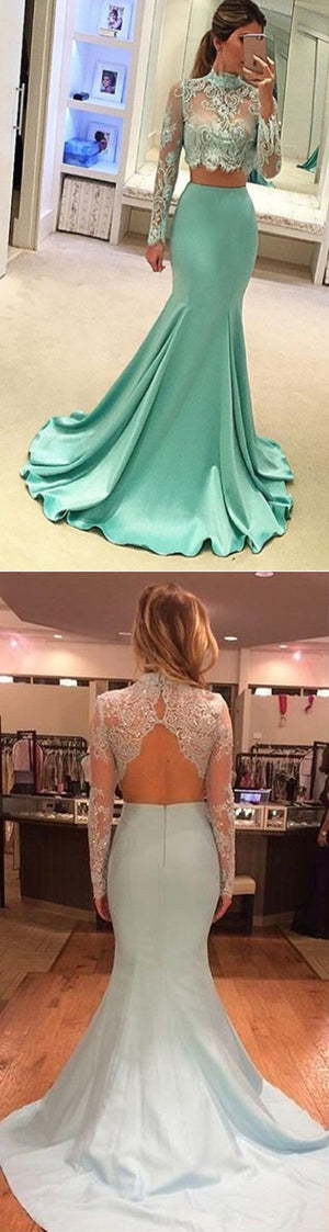 Pretty Two Pieces High Neck Long Sleeve Lace Prom Dress, Sexy Mermaid Prom Dress,PD0210