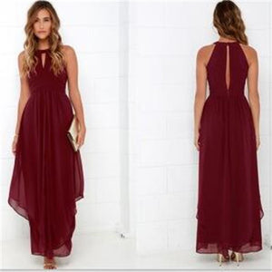Burgundy Long Chiffon Cheap Side Slit V-Neck Simple Newest Bridesmaid Dresses , PD218