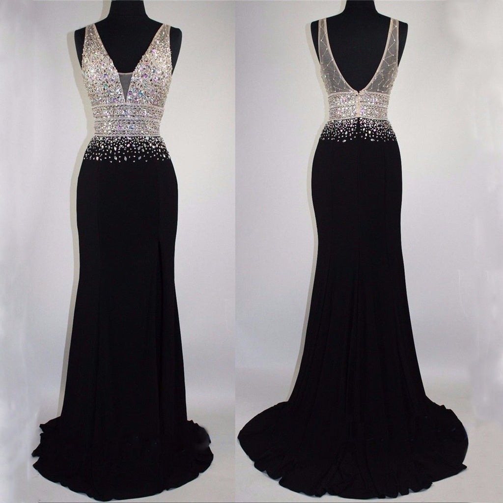 Black V-Neck Mermaid Sparkly Shining Gorgeous Prom Dresses, Fashion Modest Party Dress.  PD0362