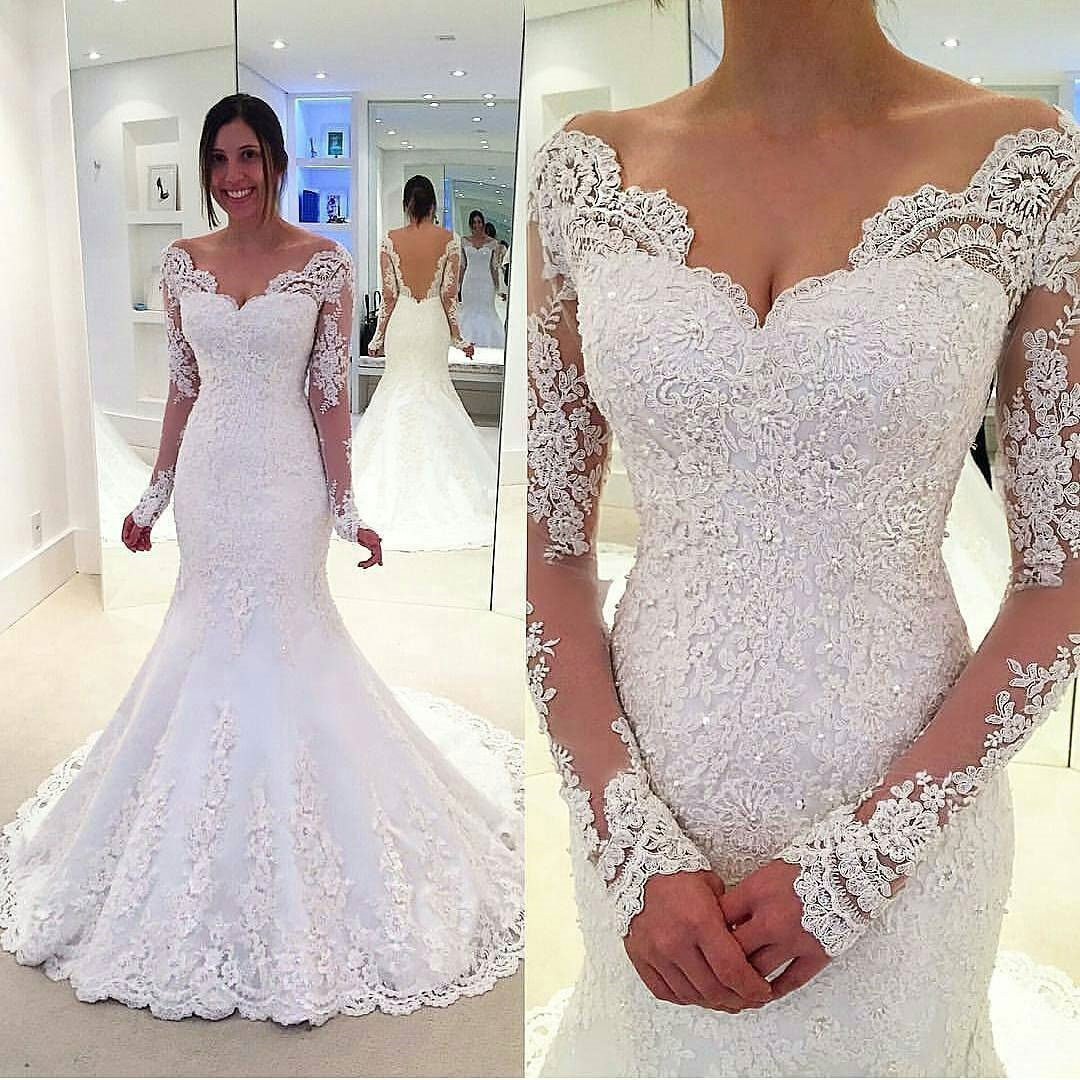 f58a0d883416 Long Sleeve Off Shoulder Mermaid Lace Custom Wedding Dresses Online, WD349